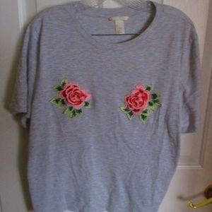 H&M Grey T-Shirt w/ Rosebud Embroidery